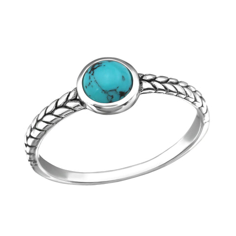 Patterned Bohemian Round Turquoise Ring - Sterling Silver
