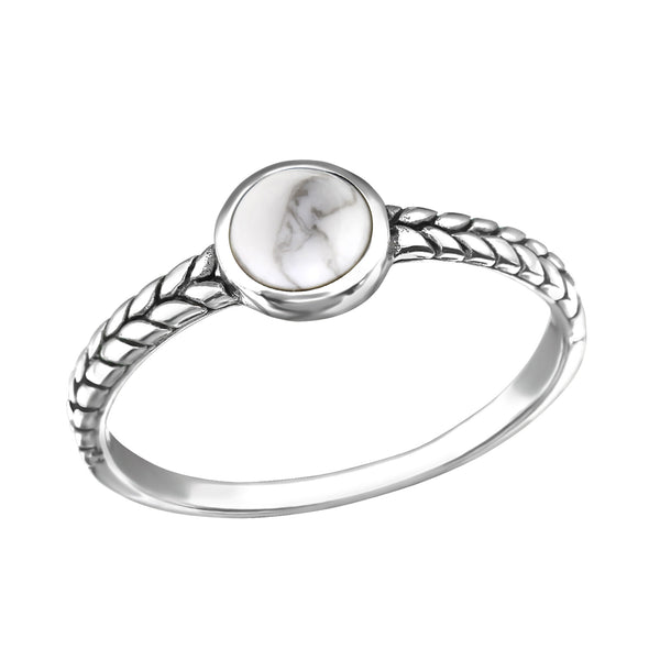 Patterned Bohemian Round Howlite Ring - Sterling Silver