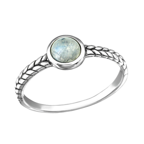 Patterned Bohemian Moonstone Ring - Sterling Silver