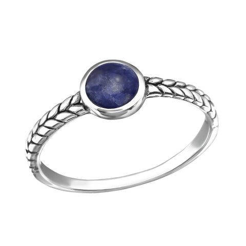 Patterned Bohemian Round Sodalite Ring - Sterling Silver