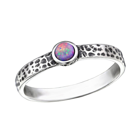 Purple Opal Hammered Ring - Sterling Silver