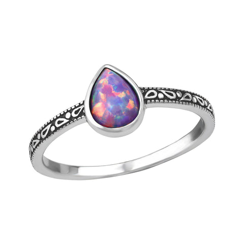 Purple Tear Drop Opal Ring - Sterling Silver