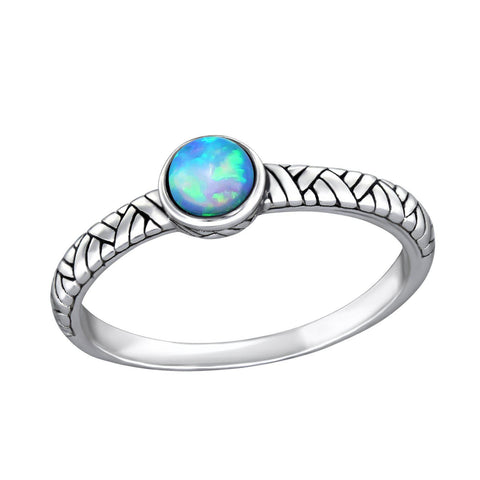 Patterned Bohemian Blue Opal Ring - Sterling Silver