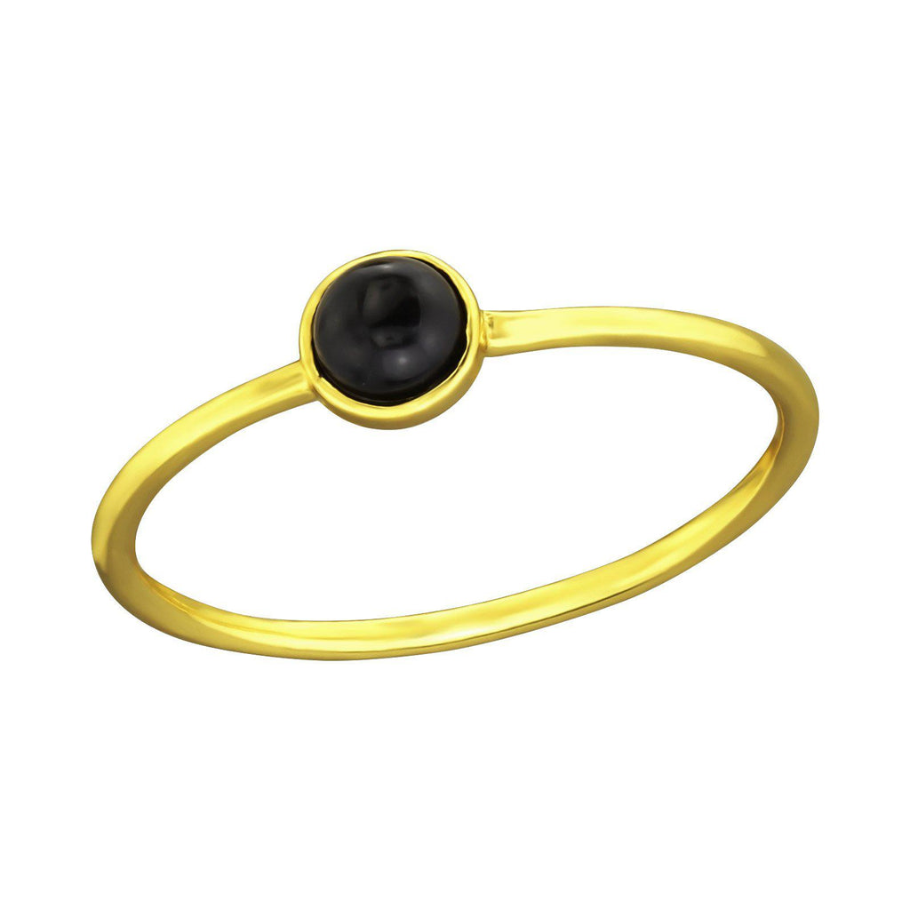 Minimal Round Black Onyx Ring - Gold Vermeil-Rings-House of Alchemy