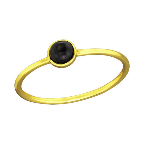 Minimal Round Black Onyx Ring - Gold Plated Sterling Silver