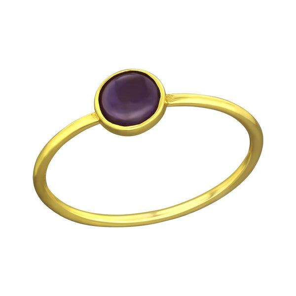 Minimal Round Amethyst Ring - Gold Plated Sterling Silver