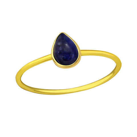 Tear Drop Sodalite Ring - Gold Plated Sterling Silver
