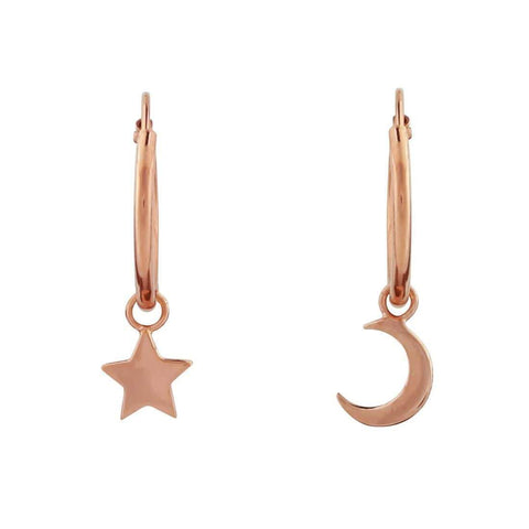 Rose Gold Star & Crescent Moon Sleeper Earrings - 18k Rose Gold
