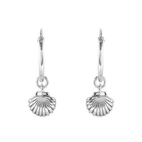 Seashell Sleeper Earrings - Sterling Silver
