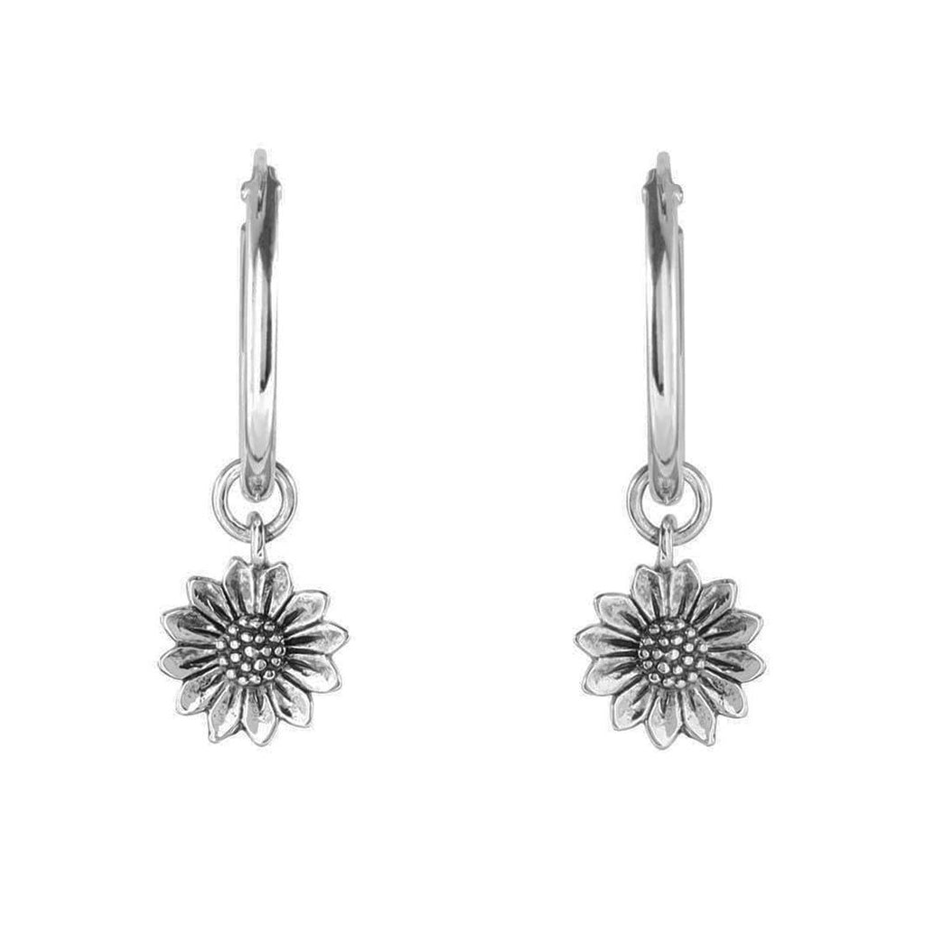 Silver Sunflower Sleeper Earrings - Sterling Silver-Earrings-House of Alchemy