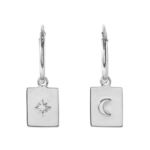 Silver Tarot Charm Sleeper Earrings - Sterling Silver