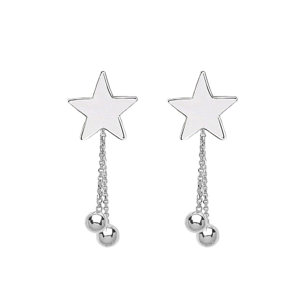 Stars & Planets Drop Earring Studs - Sterling Silver