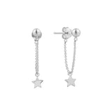 Star Charm Ball & Chain Stud Earrings - Sterling Silver-Earrings-House of Alchemy