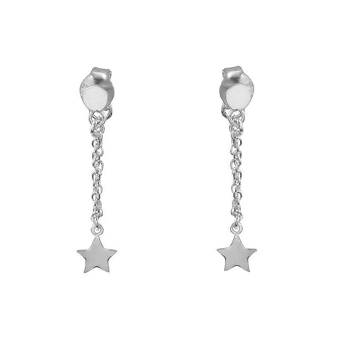 Star Chain Stud Earrings - Sterling Silver