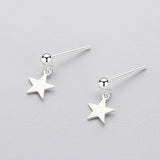 Small Star Drop Earring Studs - Sterling Silver-Earrings-House of Alchemy