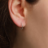 Minimal Sleeper Hoop Earrings - Sterling Silver-Earrings-House of Alchemy