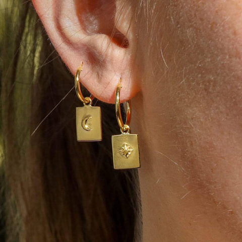 Gold Tarot Charm Sleeper Earrings - 18k Gold