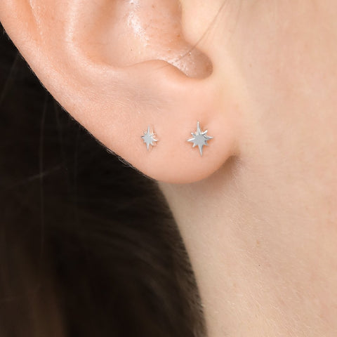 North Star Stud Earrings - Sterling Silver