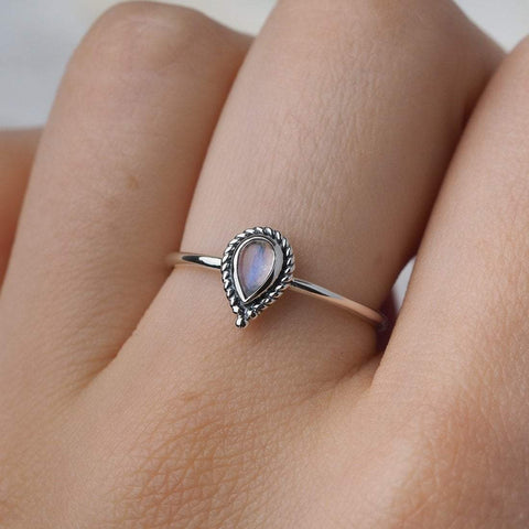 Teardrop Bohemian Moonstone Ring - Sterling Silver