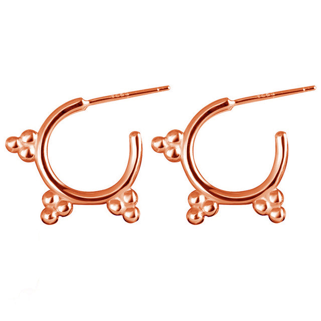 Tri-Dot Hoop Earring Stud - Rose Gold-Earrings-House of Alchemy