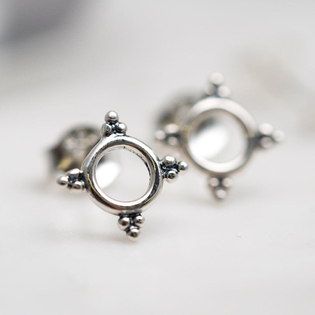 Tri-Dot Circle Stud Earrings - Sterling Silver-Earrings-House of Alchemy