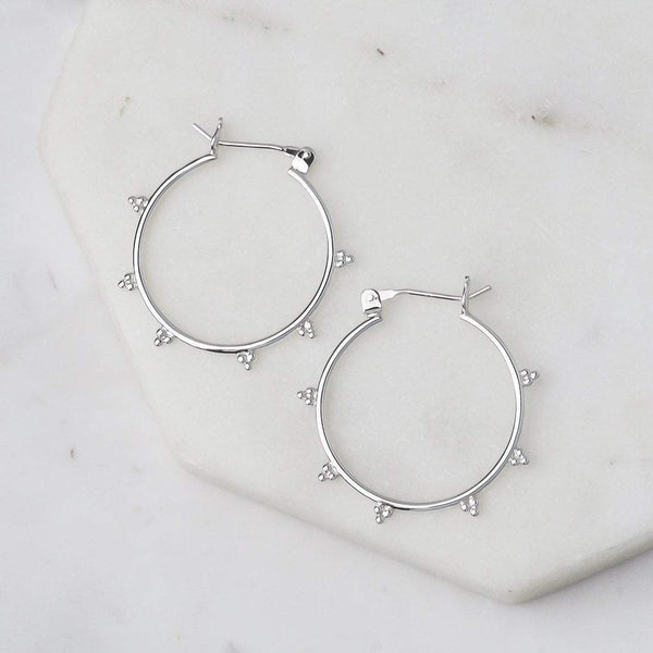 Tri-Dot Earring Hoops - Sterling Silver