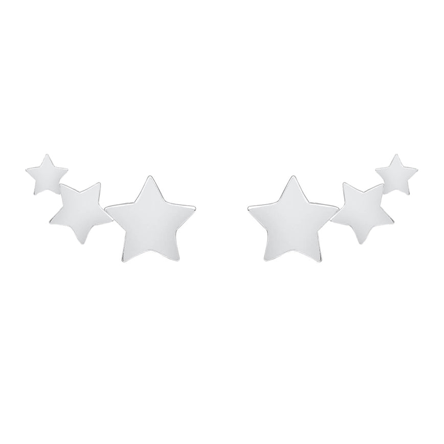 Triple Shooting Star Earring Studs - Sterling Silver