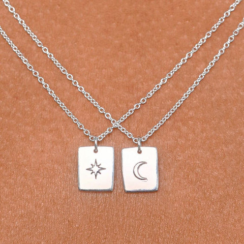 Star & Moon Tarot Charm Necklace - Sterling Silver