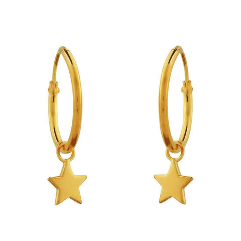 Gold Star Sleeper Earrings - 18k Gold