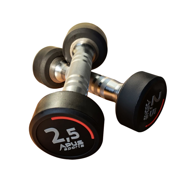 APUS Poland Premium Round Rubber Dumbbells 2.5 KG - 50 kg with 3 Years Warranty - For Commercial and Home Use