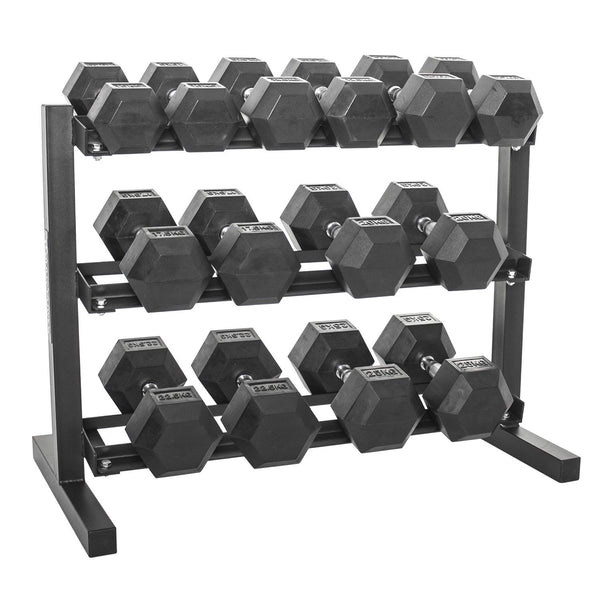 Hex Dumbbells Set with Rack - 2.5 KG to 20 KG  - 8 Pairs (3 Tier Dumbbell Rack Included )