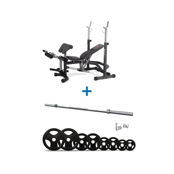 Marcy Combo Offer - Marcy Adjustable Bench with Squat Rack and Preacher Curl + 80 Kg Olympic Set