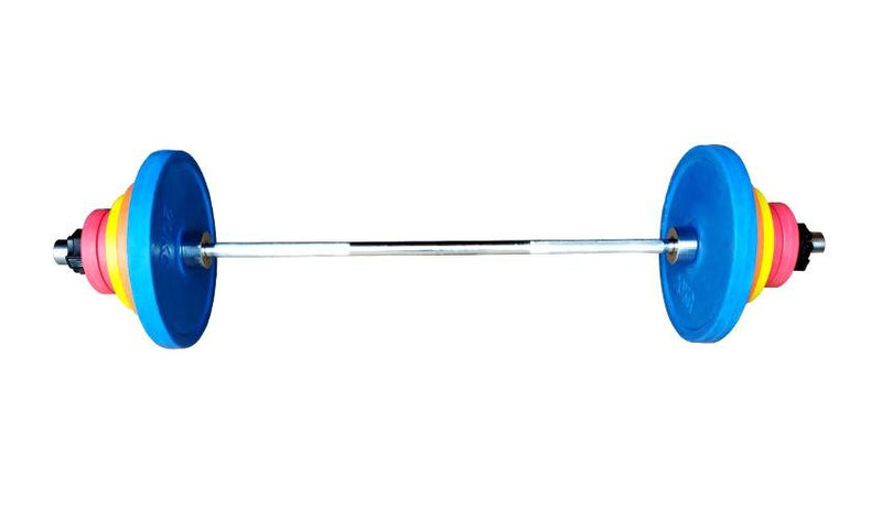 Colored 7 ft Olympic Barbell & Plates Set | Prosportsae - Prosportsae.com