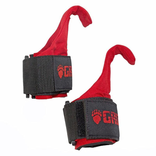 Grizzly Fitness Premium Weight Lifting Hooks with Neoprene Wrist Wraps for Men and Women (One-Size) UAE - Prosportsae.com