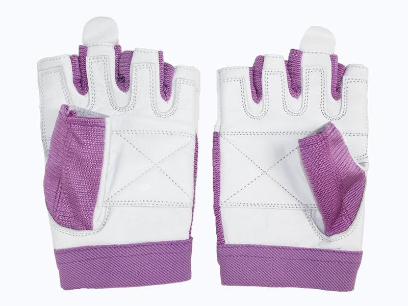 Grizzly Paw Premium Leather Padded Weight Training Gloves for Women - Purple - Prosportsae.com