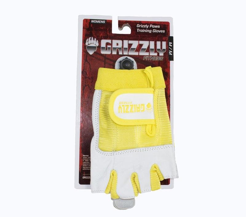 Grizzly Paw Premium Leather Padded Weight Training Gloves for Women - Yellow - Prosportsae.com