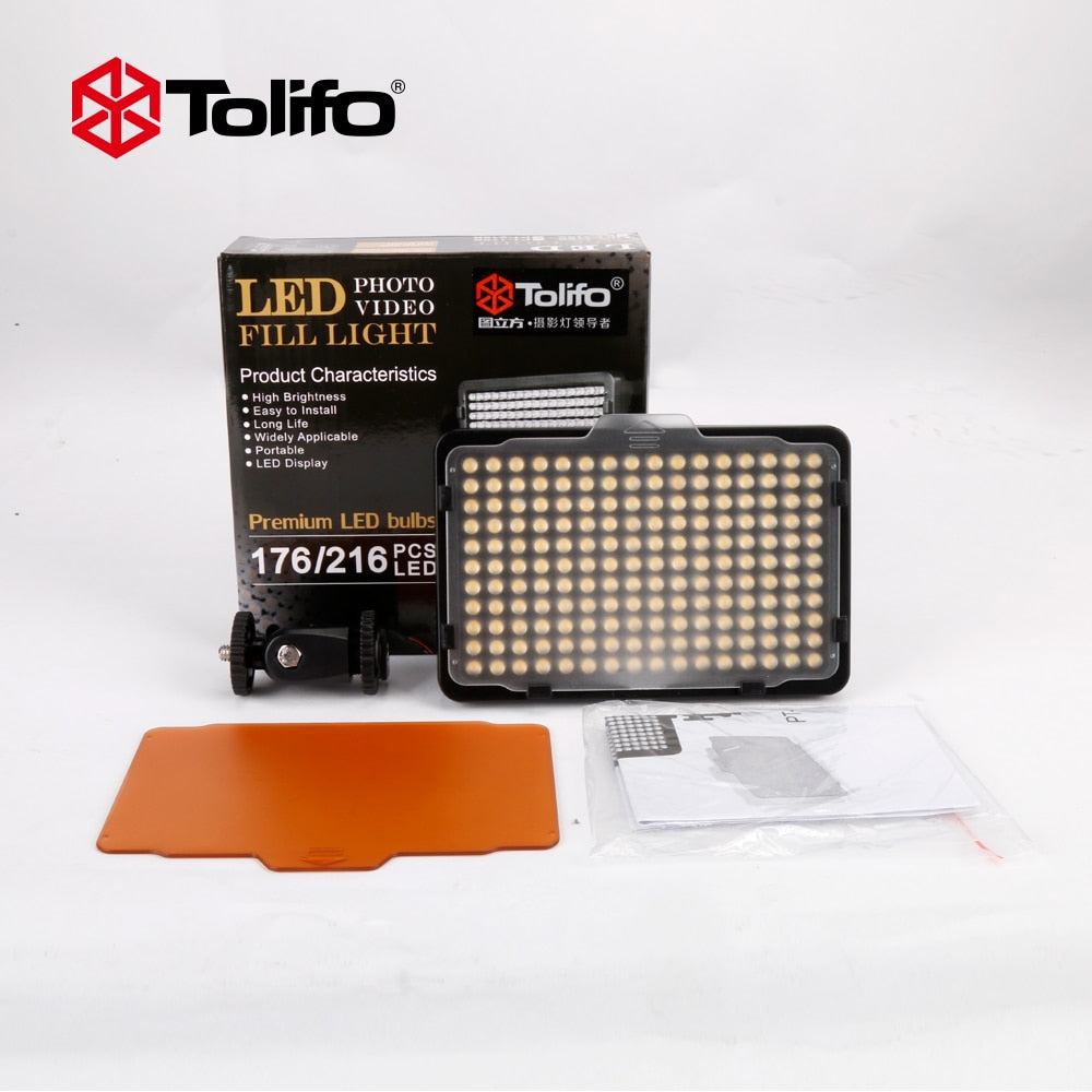 Tolifo Pt 176s 176 Led Bulbs 5600k 3200k Ultra Bright Mini Lamp Camera Video