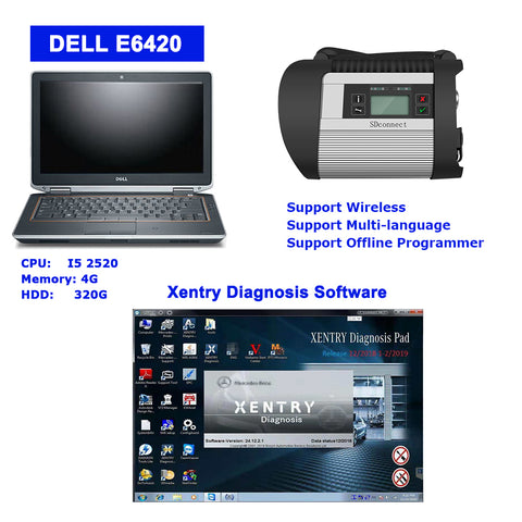 MB SD Connect C4 Star Diagnosis with Dell E6420 Laptop with V2019.12 Xentry Software Full Set Ready to Use