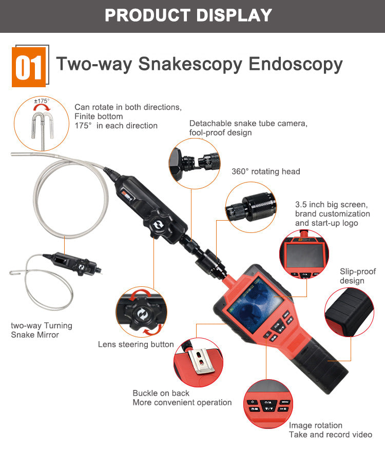 Portable Two-way Rotating Head Industrial Borescope