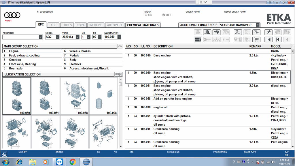 ETKA Parts Catalogue V8.1 Functions: