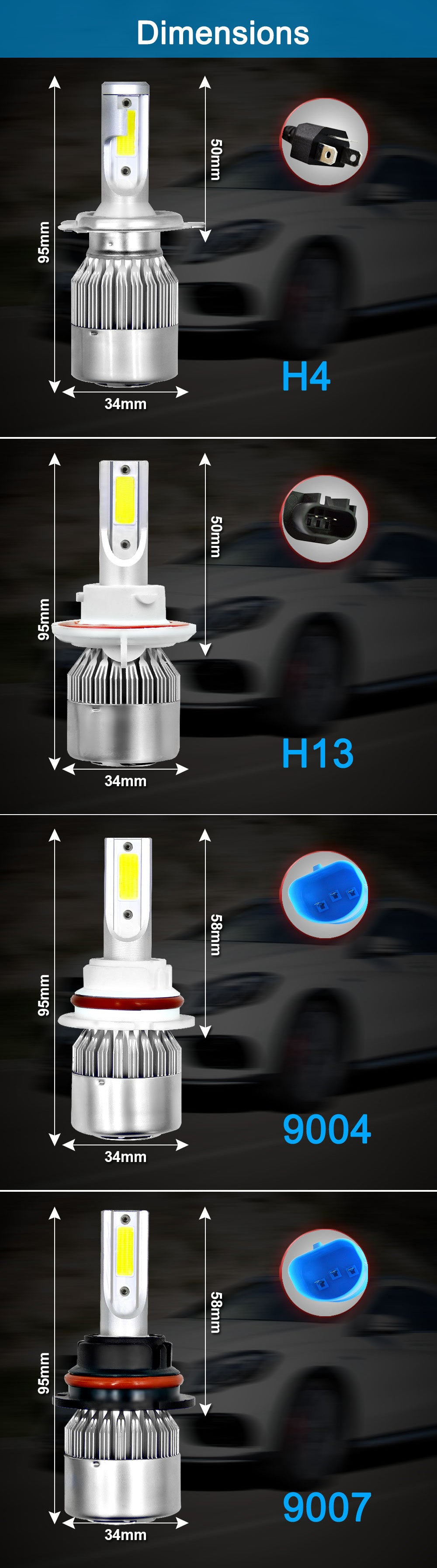 Bi Beam Car LED Headlights