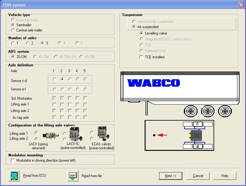 WABCO DIAGNOSTIC KIT Software Screen Display: