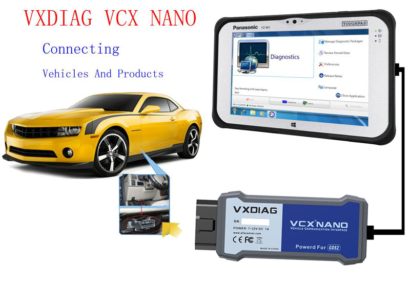 VXDIAG VCX NANO GM USB Connection