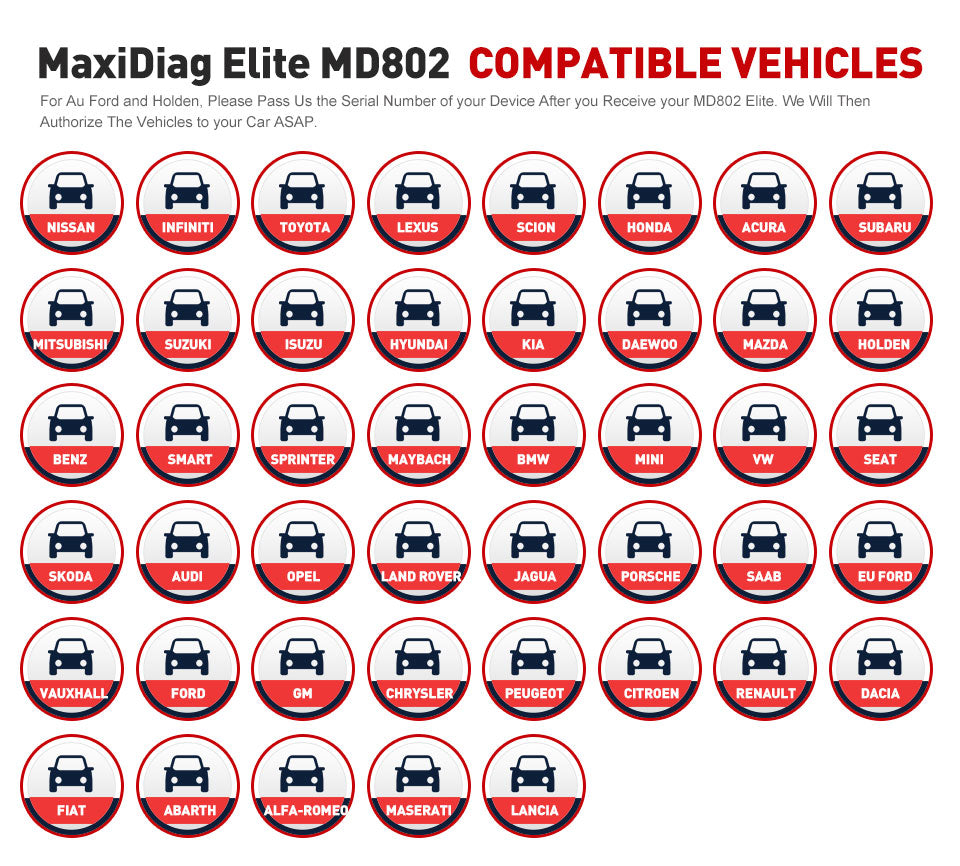 MaxiDiag Elite MD802 car list