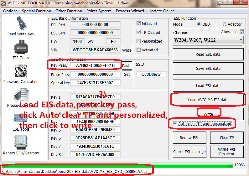 3) Load EIS data,paste key pass,click Auto clear TP and personalized,then click to write