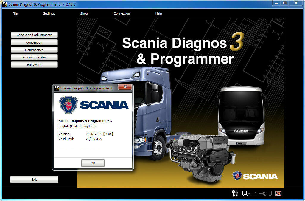For Scania VCI 3 Scanner Software Display: