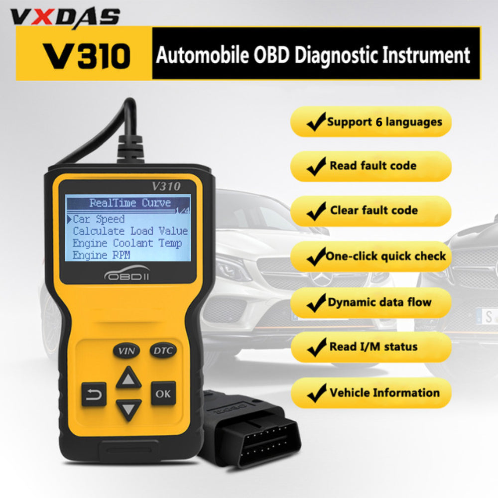 V310 Car Diagnostic Scanner Tool Portable Handheld OBDII CAN OBD2 Erases  Trouble Clear DTC Code Reader Scan Tool