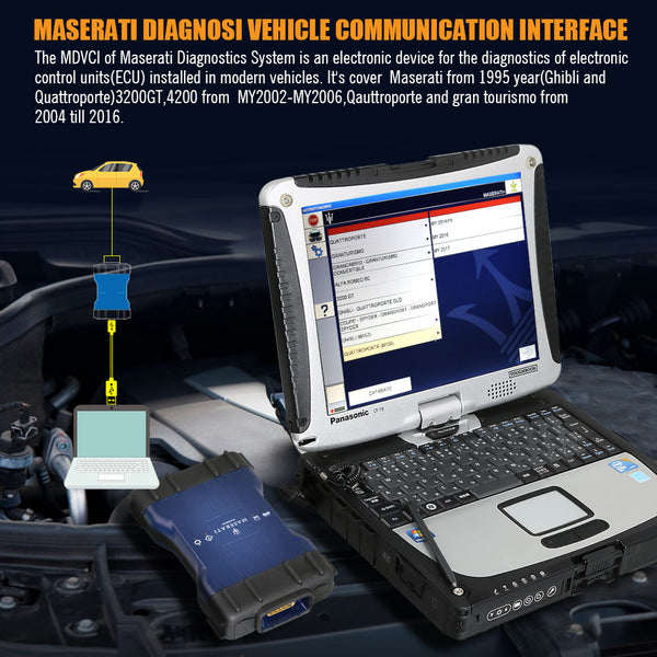 MDVCI Maserati Detector Support Diagnosis with Maintenance Data Installed on Panasonic CF19 Ready to Use - VXDAS Official Store
