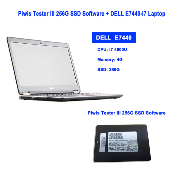 Piwis Tester III V37.9000 256G SSD Software Driver Installed on DELL E7440-I7 Laptop Ready To Use For Porsche