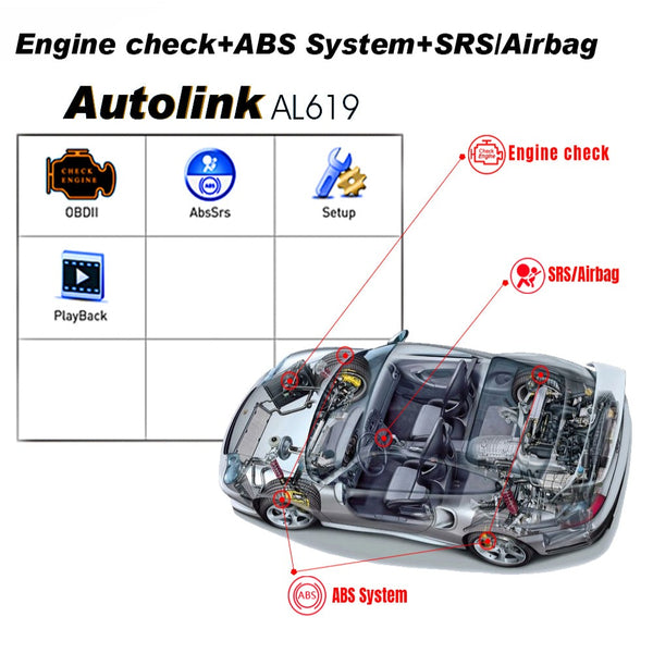 Autel AutoLink AL619 Engine, ABS, SRS  Auto Scanner Car Code Reader Automotive Tool Auto Code Reader - VXDAS Official Store